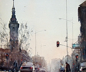 watercolor and rainy morning in belgrade image