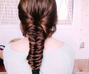 brunette, hairstyle, and fishtail braid image