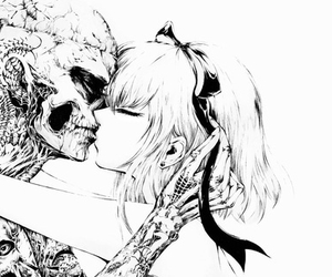 anime girl, skelton, and black and white image