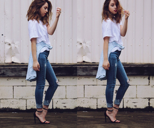 jeans, girl, and hair image