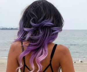 hair, beach, and purple image