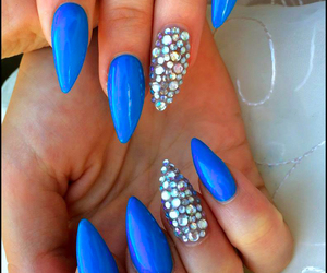 blue nails, stiletto nails, and summer nails image