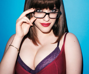 boobs, nerd glasses, and glasses image