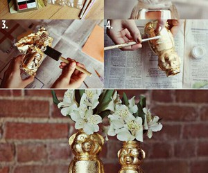 white flowers, gold paint, and gold things image