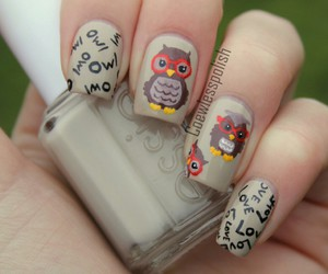 nails, owl, and nail art image