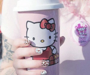 pink, hello, and hello kitty image