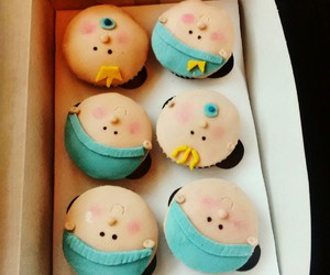 baby, boy, and cupcakes image