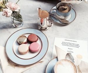 food, coffee, and macaroons image