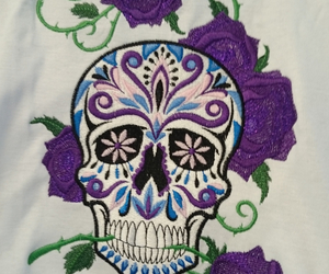 embroidery, skull, and roses image