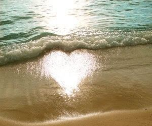 beach, heart, and sun image