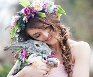 rabbit, girl, and flowers image