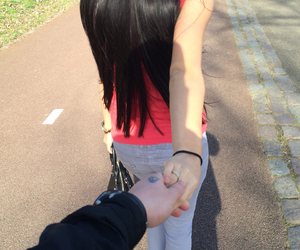 asian, holding hands, and long hair image
