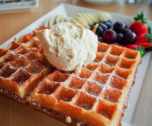 waffles, food, and fruit image