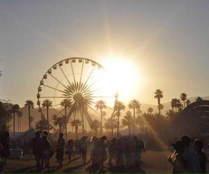 coachella, sunset, and sun image