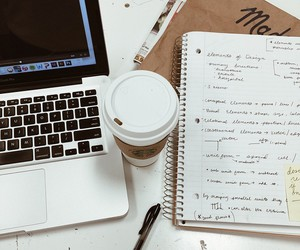 coffee, apple, and work image
