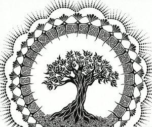 art, black and white, and mandala image