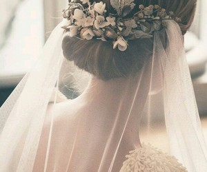 bride, fancy, and flowers image