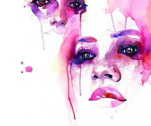 art, watercolor, and pink image