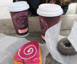 coffee, donuts, and dunkin donuts image