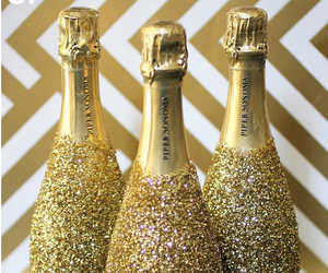 gold, champagne, and bottle image