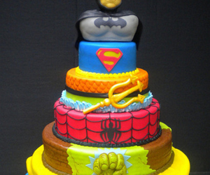 cake, batman, and superman image