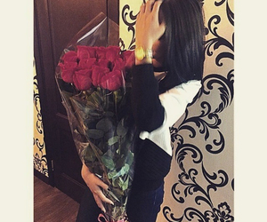 girl, beautiful, and roses image