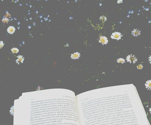 book, flowers, and garden image