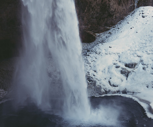 snow, waterfall, and nature image