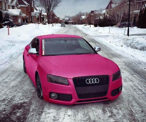 audi, car, and pink image