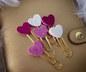 hearts, clips, and school image