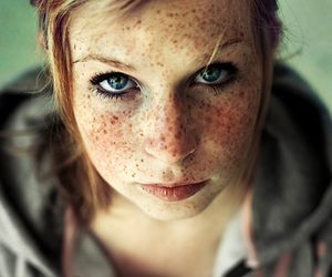 freckles, girl, and eyes image