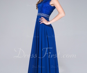 blue, long, and prom dress image
