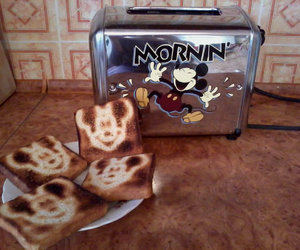 mickey mouse, morning, and toaster image