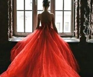 red, girl, and dress image