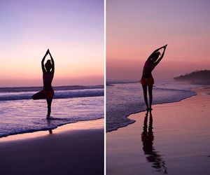 beach, yoga, and pink image
