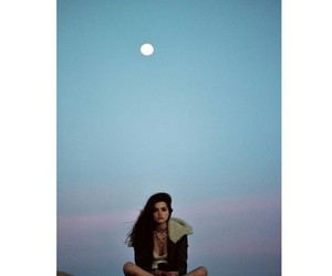 evening, girl, and moon image