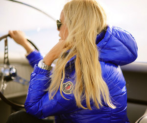 blonde, blue, and Moncler image