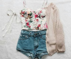 flowers, shorts, and outfits image