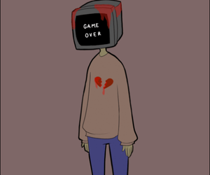 broken heart, draw, and sad image