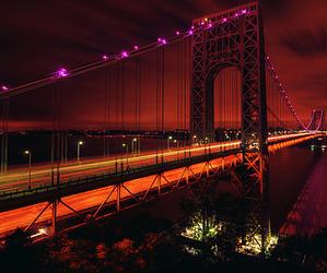 bridge, light, and city image