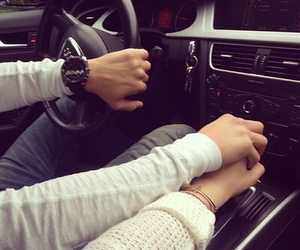love, couple, and car image