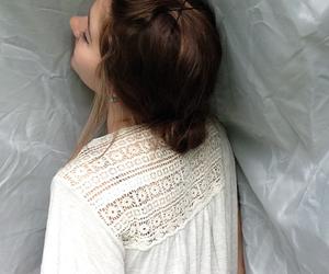 bangs, braid, and brown image