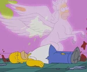 unicorn, simpsons, and homer image