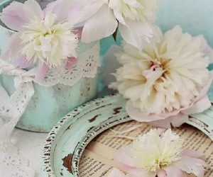 flowers, lace, and pastel image