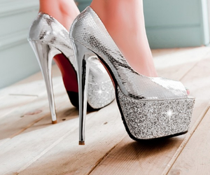 heels, silver, and high image