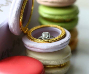 macaroons, ring, and wedding image