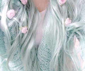 beauty, blue hair, and green hair image