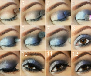 makeup, tutorial, and blue image