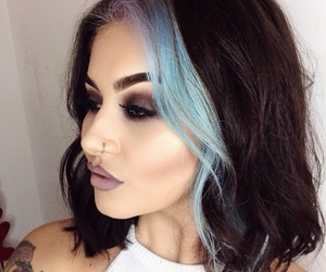 blue, dramatic, and brunette image