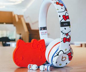 beats, headphones, and hello kitty image